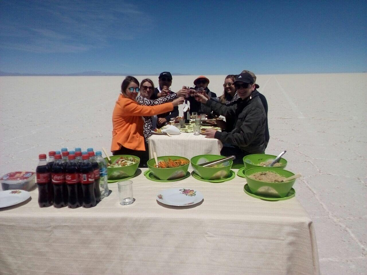 outdoors meal, Uyuni salt flats