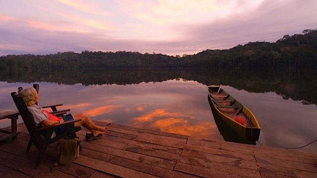 Sunset at Chalalan ecolodge, Madidi national park