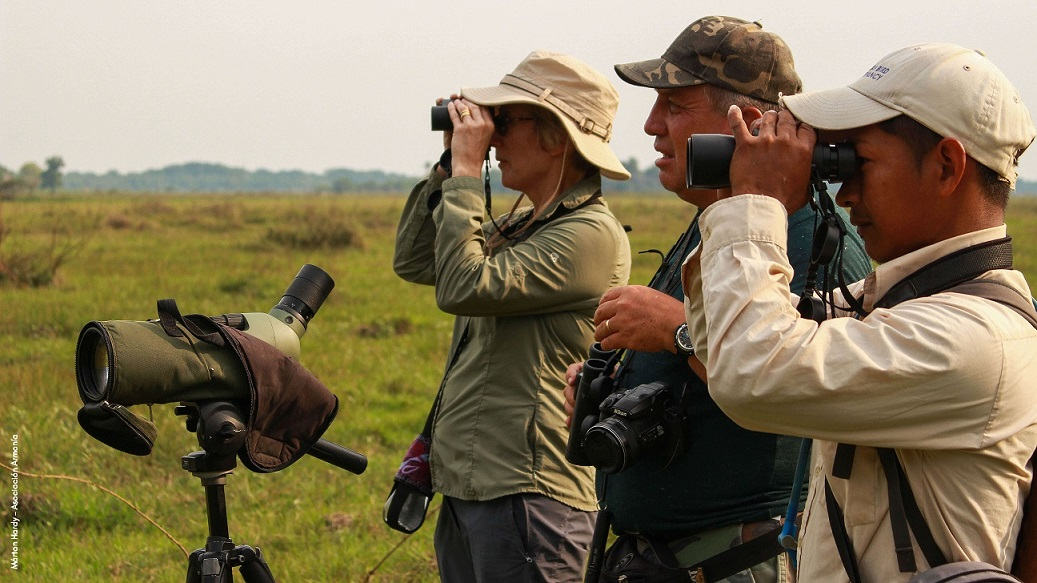 Birding at Black Masked Finch at Blue-Throated Macaw Lodge