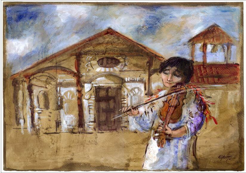 Ejti Stih painting - Baroque Music Festival Chiquitos, Bolivia